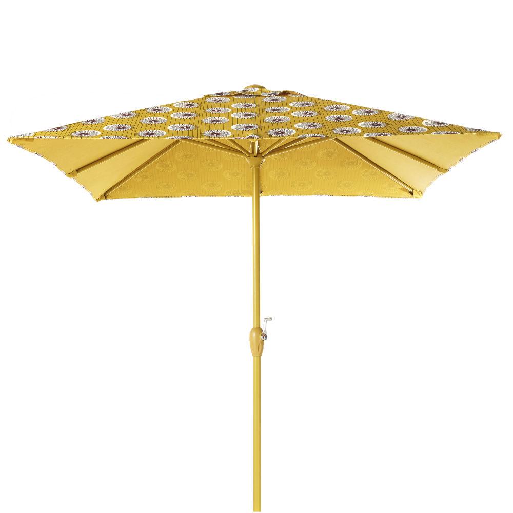 Parasol en aluminium et toile motifs jaunes et noirs