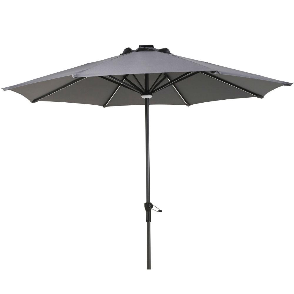 Parasol lumineux à LED en toile gris anthracite