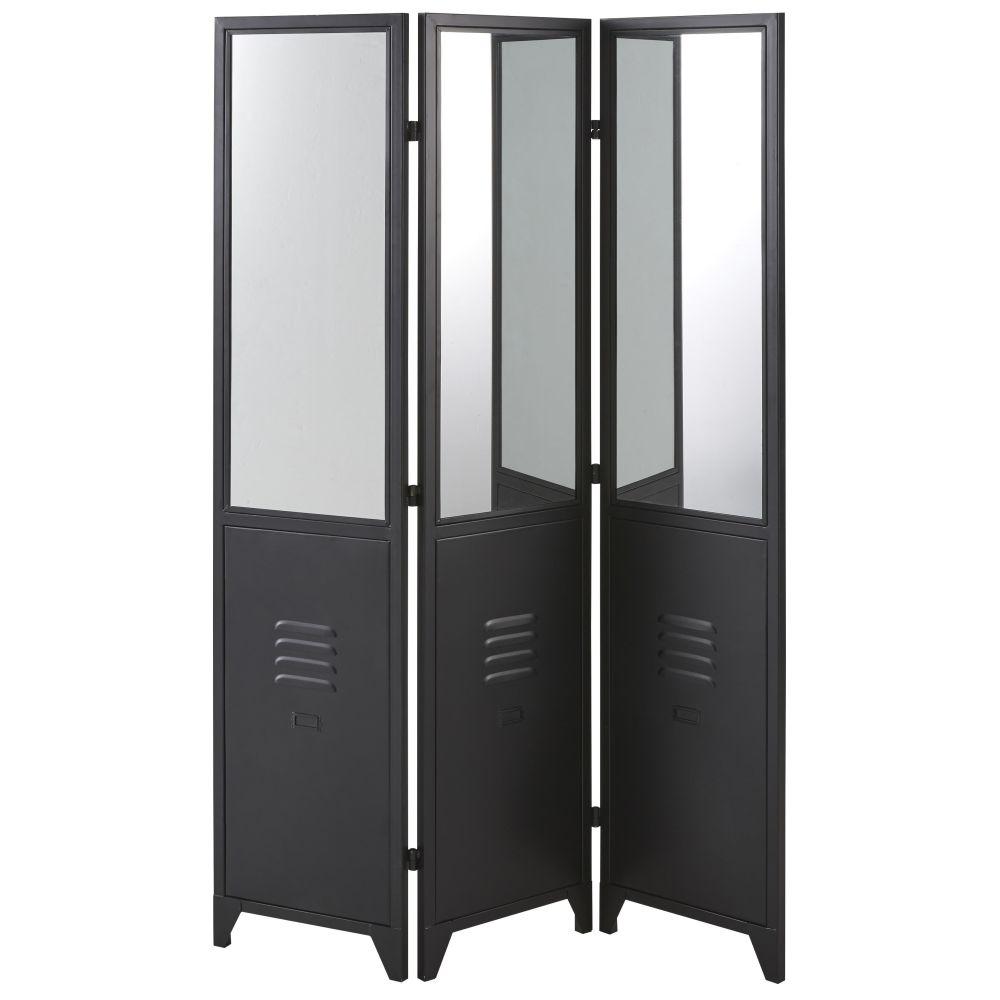 Paravent en métal noir et miroirs (photo)