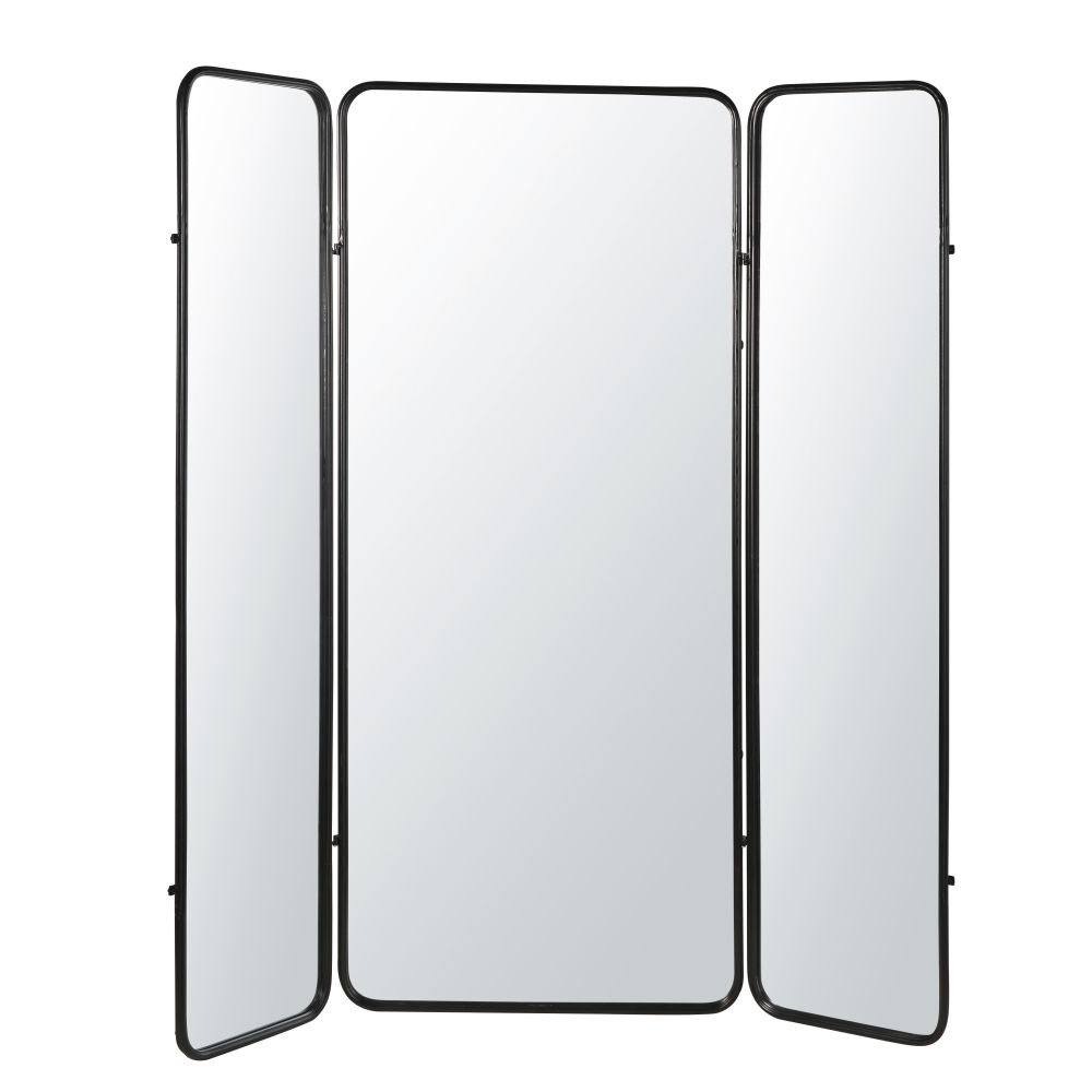 Paravent en miroir et métal noir
