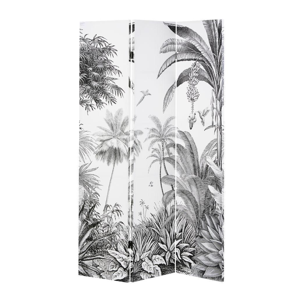 Paravent imprimé forêt tropicale noir et blanc (photo)