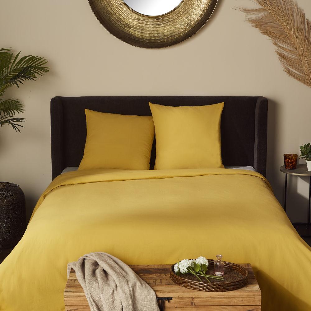 Parure de lit coton lavé bio jaune moutarde 220x240