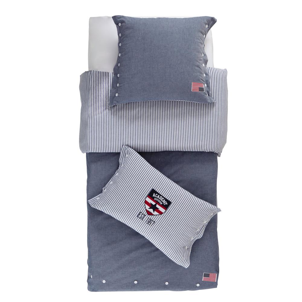 Parure de lit en chambray de coton bleu 140x200