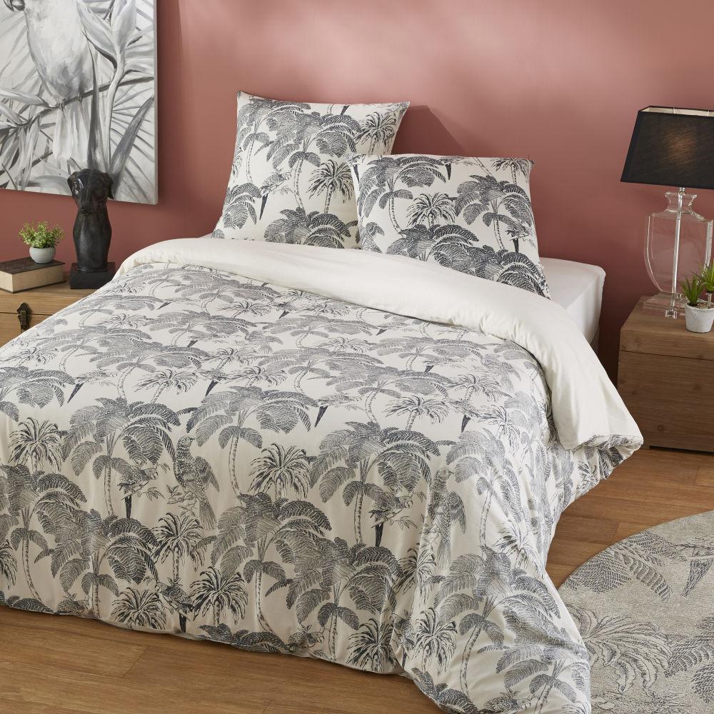 Parure de lit en coton beige imprimé palmiers gris anthracite 220x240