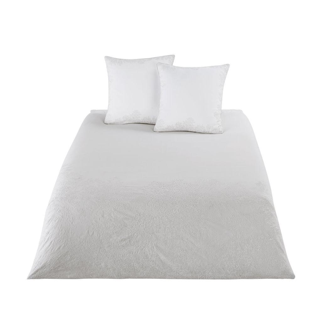 Parure de lit en coton beige motifs brodés blancs 240x260