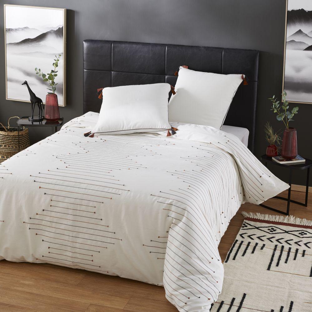 Parure de lit en coton beige, noir et terracotta à motifs brodés 220x240