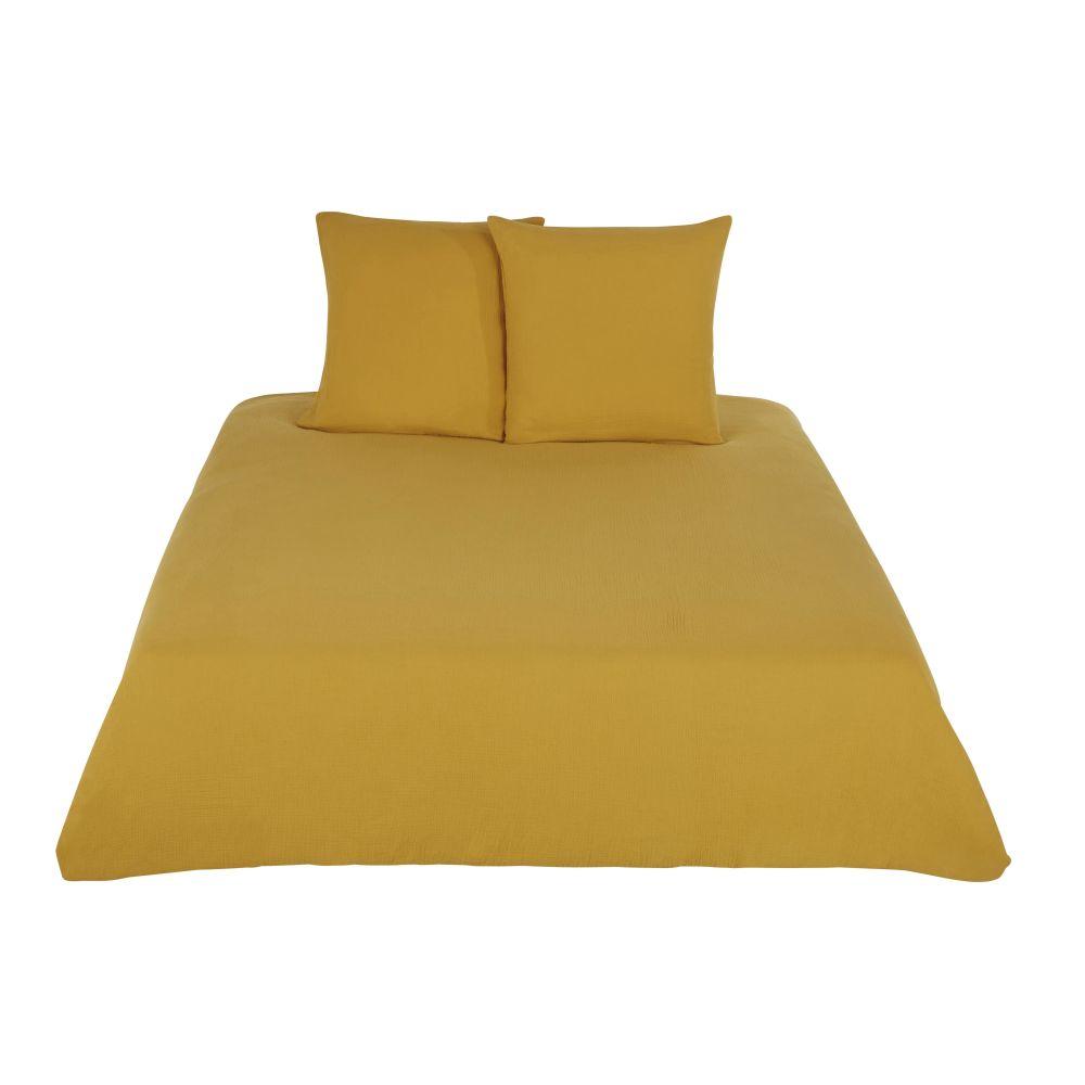 Parure de lit en coton bio jaune moutarde 220x240