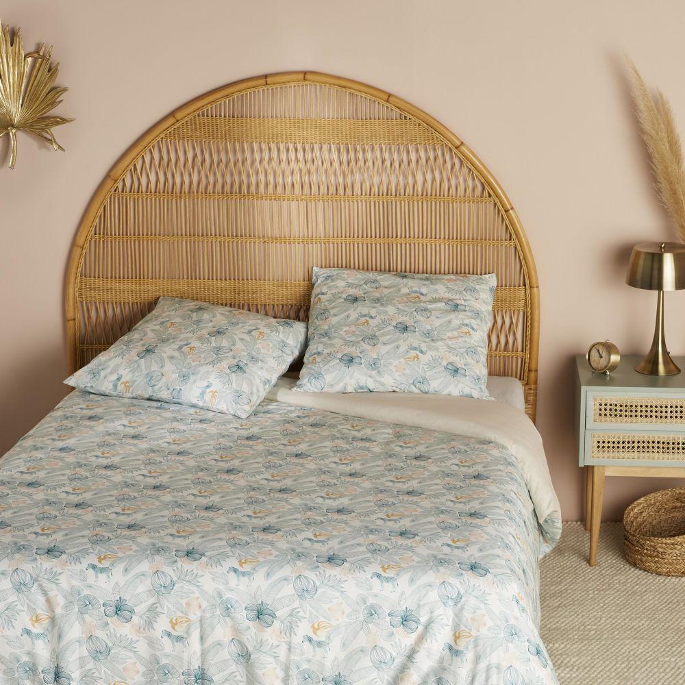Parure de lit en coton bio rose et bleu canard imprimé 240x260