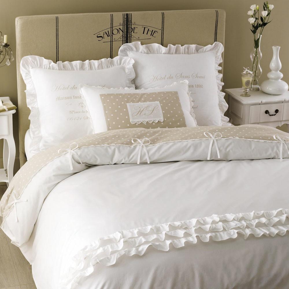 Parure de lit en coton blanche 240 x 260 cm