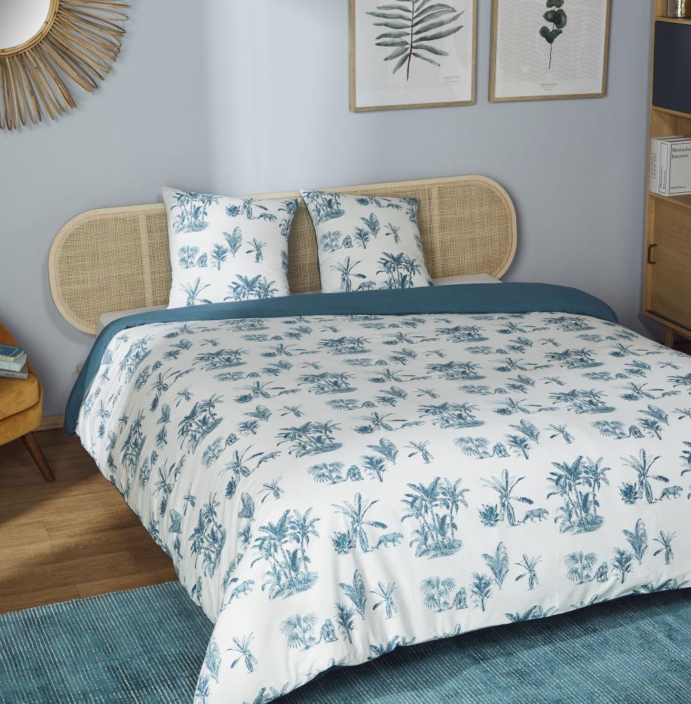 Parure de lit en coton écru et bleu canard imprimé 240x260