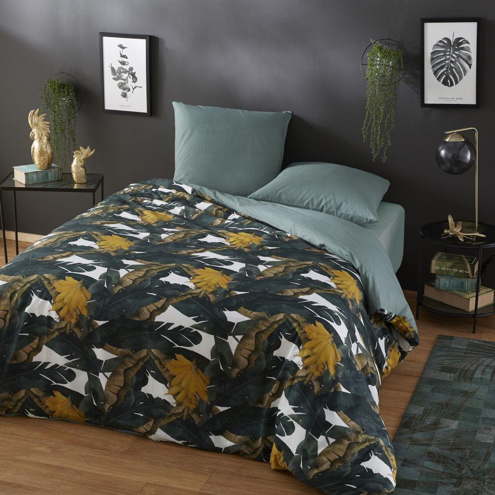 Parure de lit en coton écru et vert imprimé bananiers 220x240