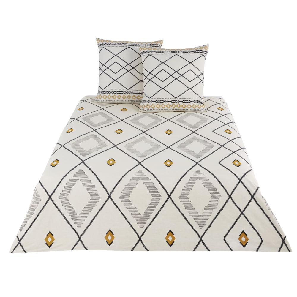 Parure de lit en coton écru, gris, noir et jaune moutarde imprimée 220x240