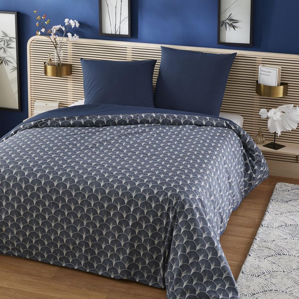 Parure de lit en coton gris et bleu foncé 220x240 imprimé