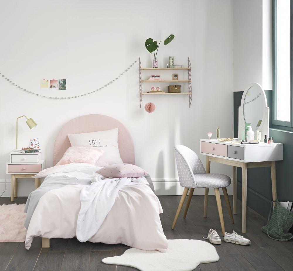 Parure de lit en coton gris et rose 140x200
