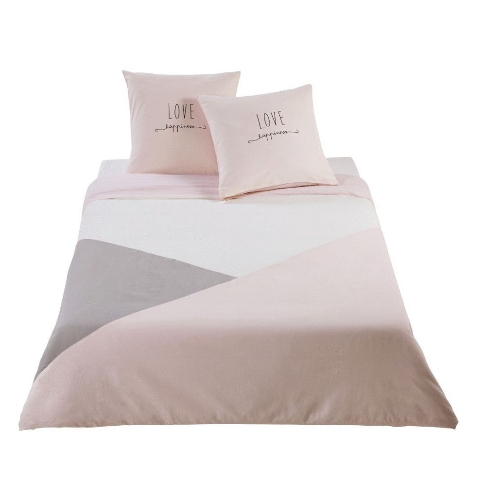 Parure de lit en coton gris et rose 220x240