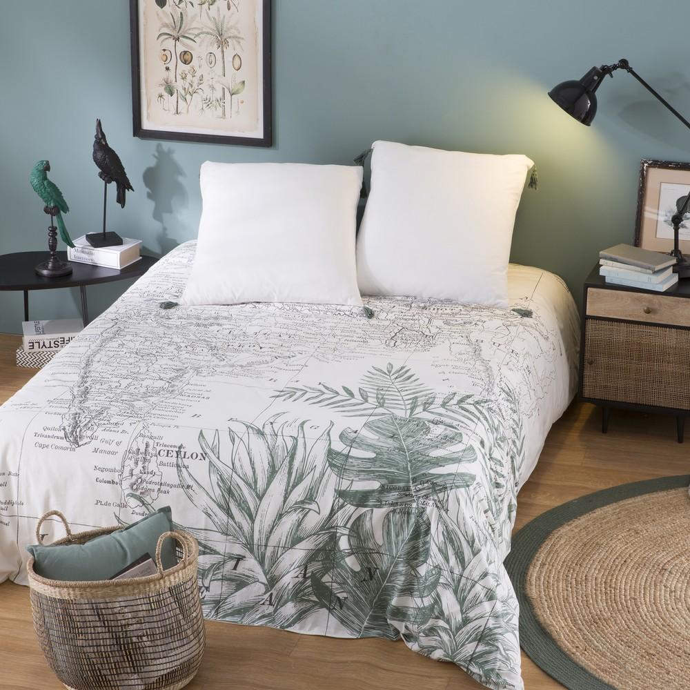 Parure de lit en coton imprimé carte de l'Inde 220x240
