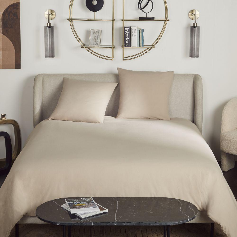 Parure de lit en coton lavé bio beige 220x240
