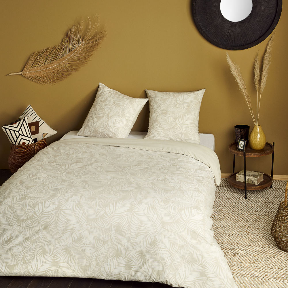 Parure de lit en coton lavé écru et beige imprimé 240x260