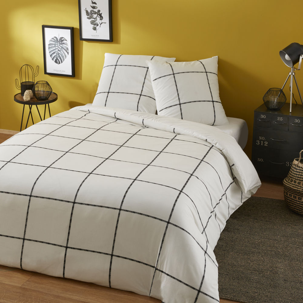 Parure de lit en coton motifs à carreaux noir et blanc 240x260
