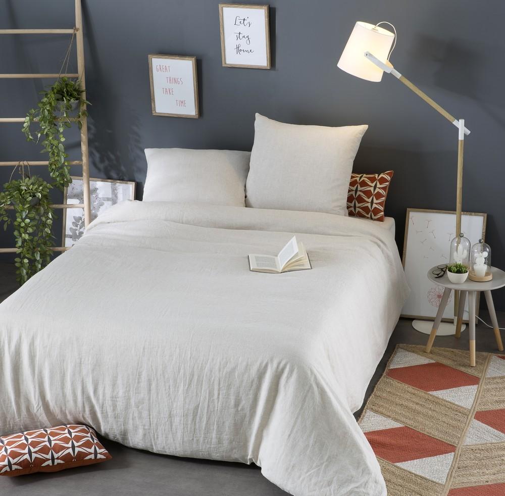Parure de lit en lin lavé beige 240x260