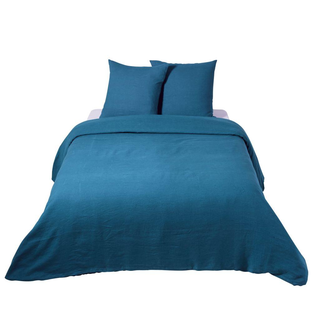 Parure de lit en lin lavé bleu paon 220x240