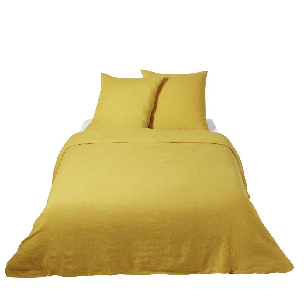 Parure de lit en lin lavé jaune moutarde 240x260