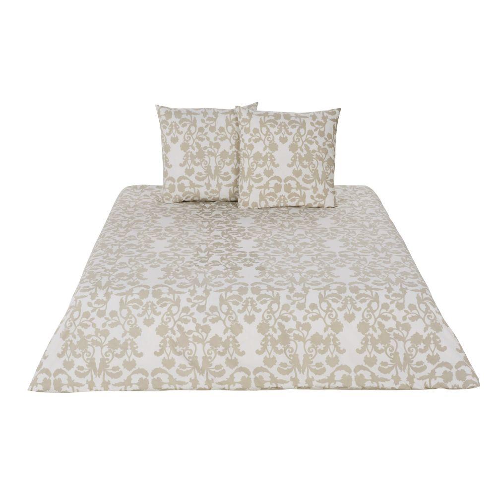 Parure de lit en percale de coton lavé imprimé beige et écru 220x240
