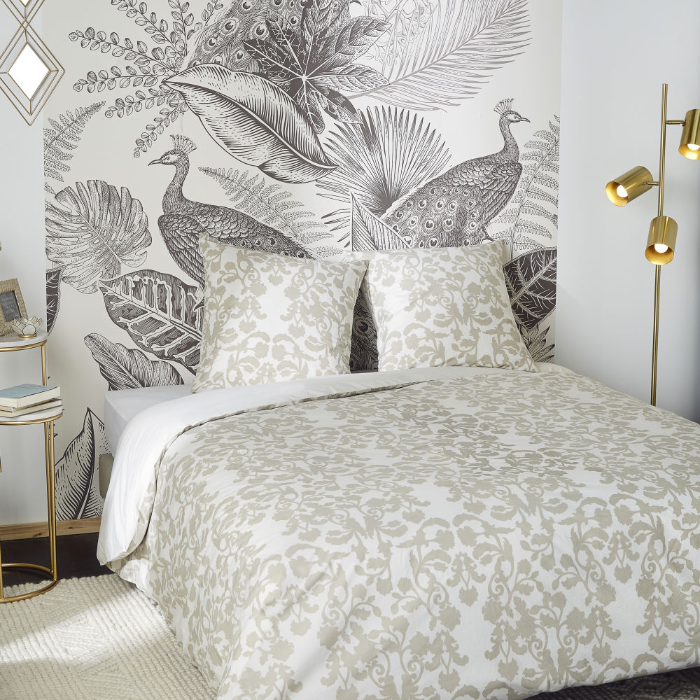 Parure de lit en percale de coton lavé imprimé beige et écru 240x260