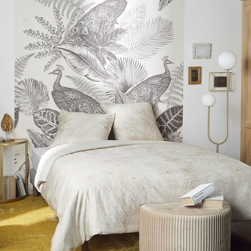 Parure de lit en satin de coton bio beige 220x240