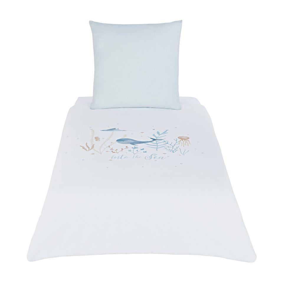 Parure de lit enfant en coton bio écru, bleu et corail 140x200