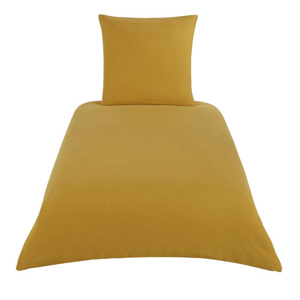 Parure de lit enfant en coton bio jaune moutarde 140x200