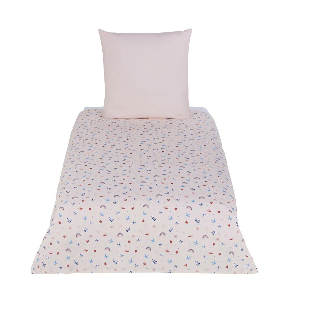 Parure de lit enfant en coton bio rose et bleu à motifs 140x200