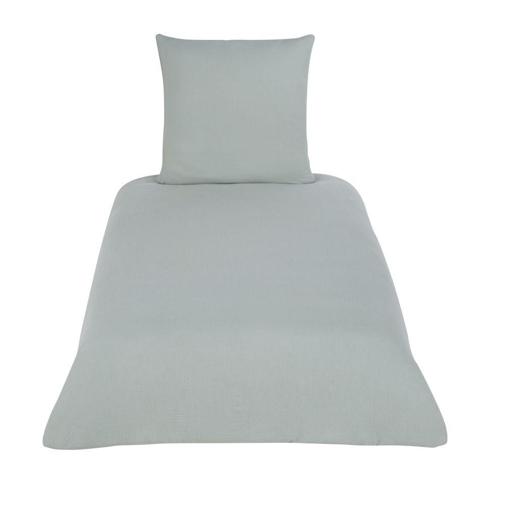 Parure de lit enfant en coton bio vert d'eau 140x200