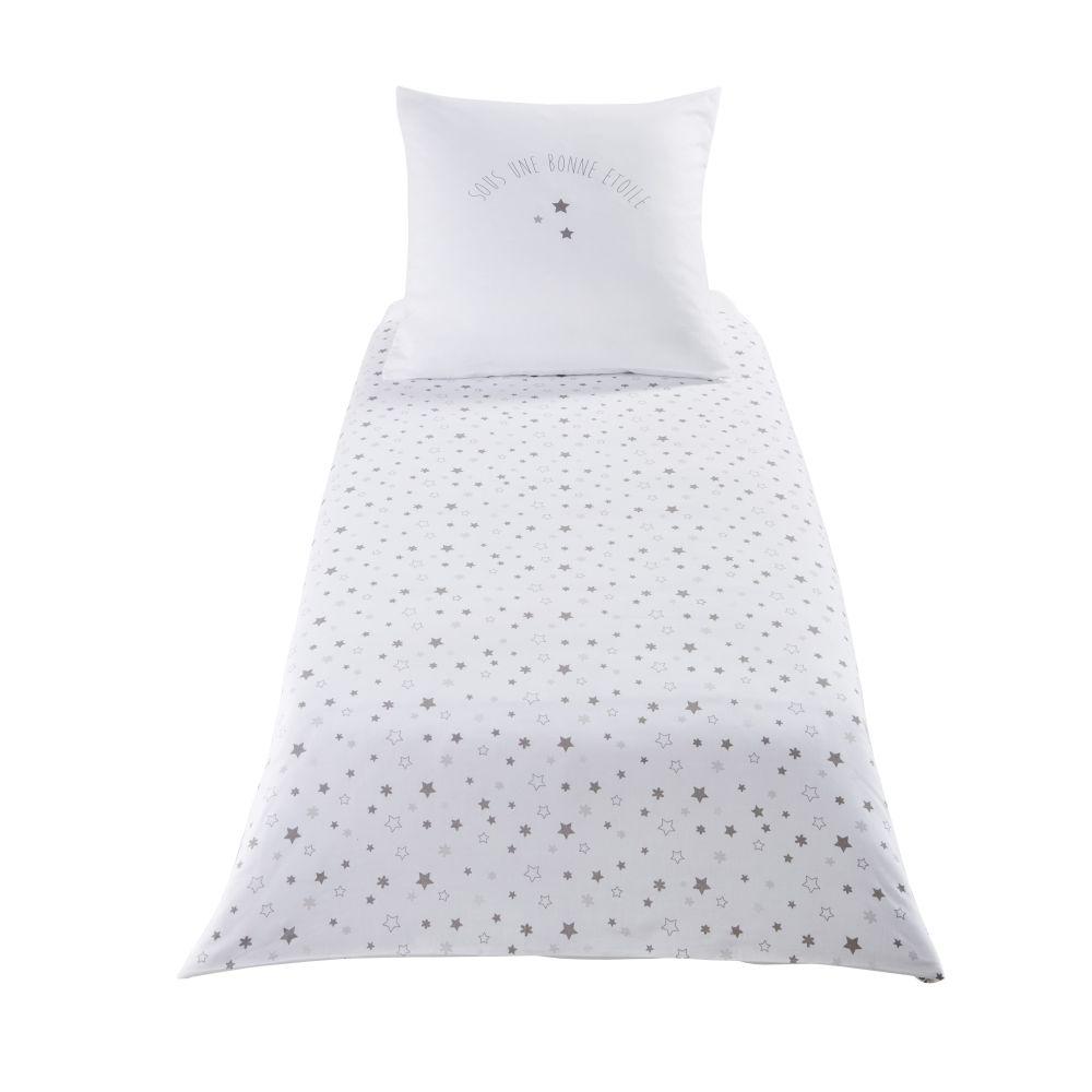 Parure De Lit Enfant En Coton Blanc Motifs étoiles 140x150