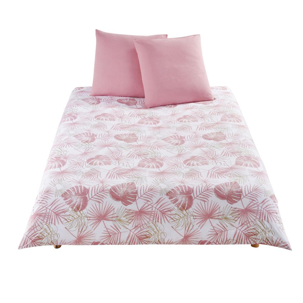 Parure de lit enfant en coton blanc motifs palmes 220x240