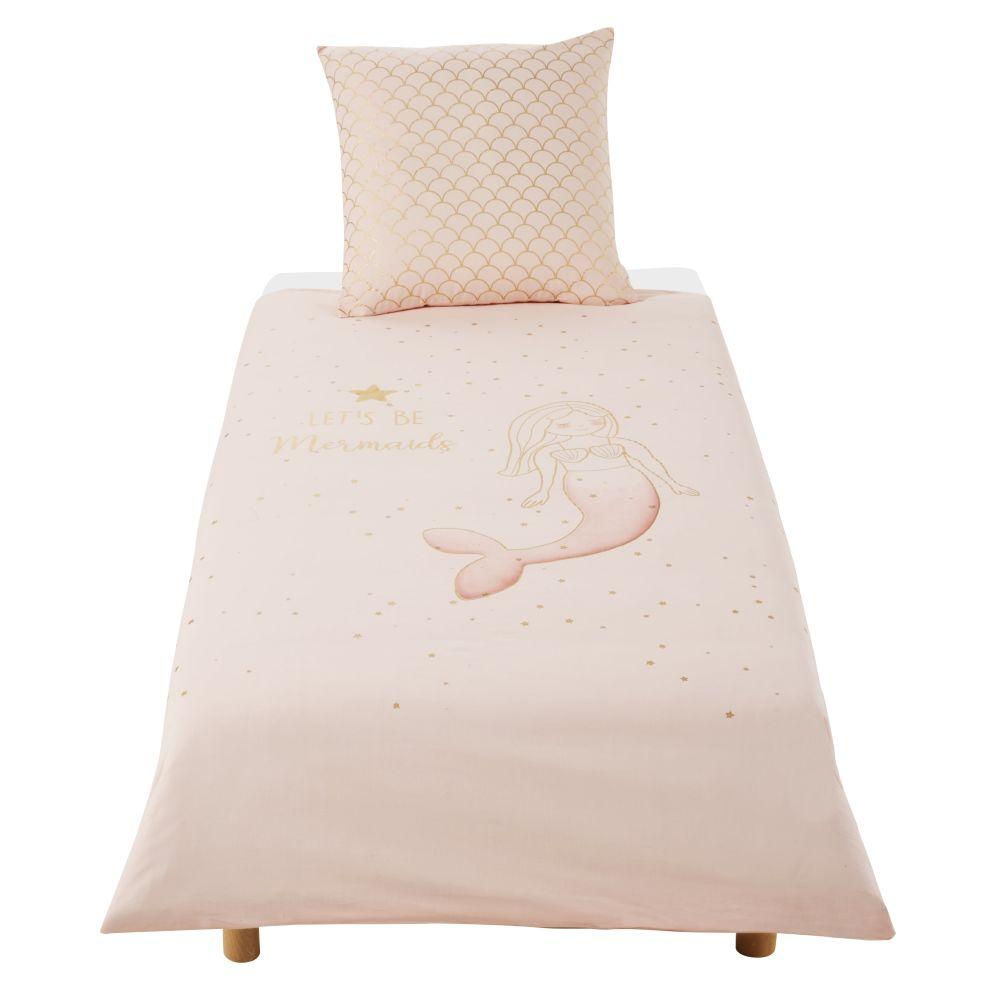 Parure de lit enfant en coton blanc, rose et doré imprimé 140x200