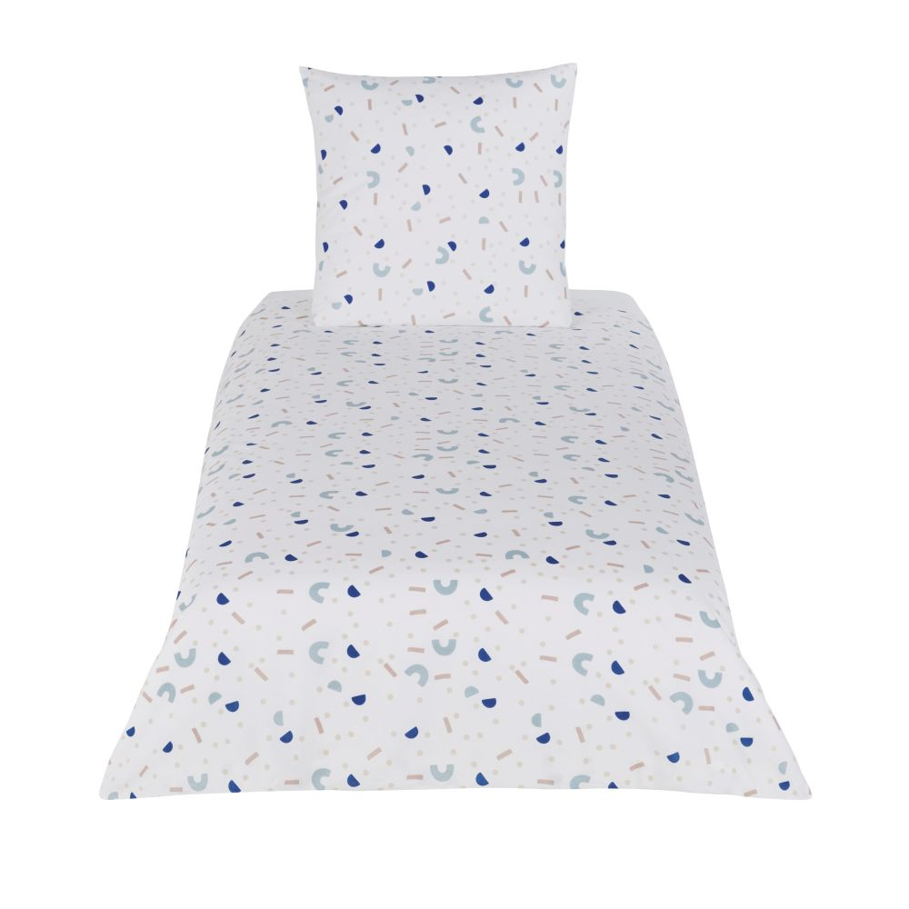 Parure de lit enfant en coton bleu, blanc et beige imprimé 140x200
