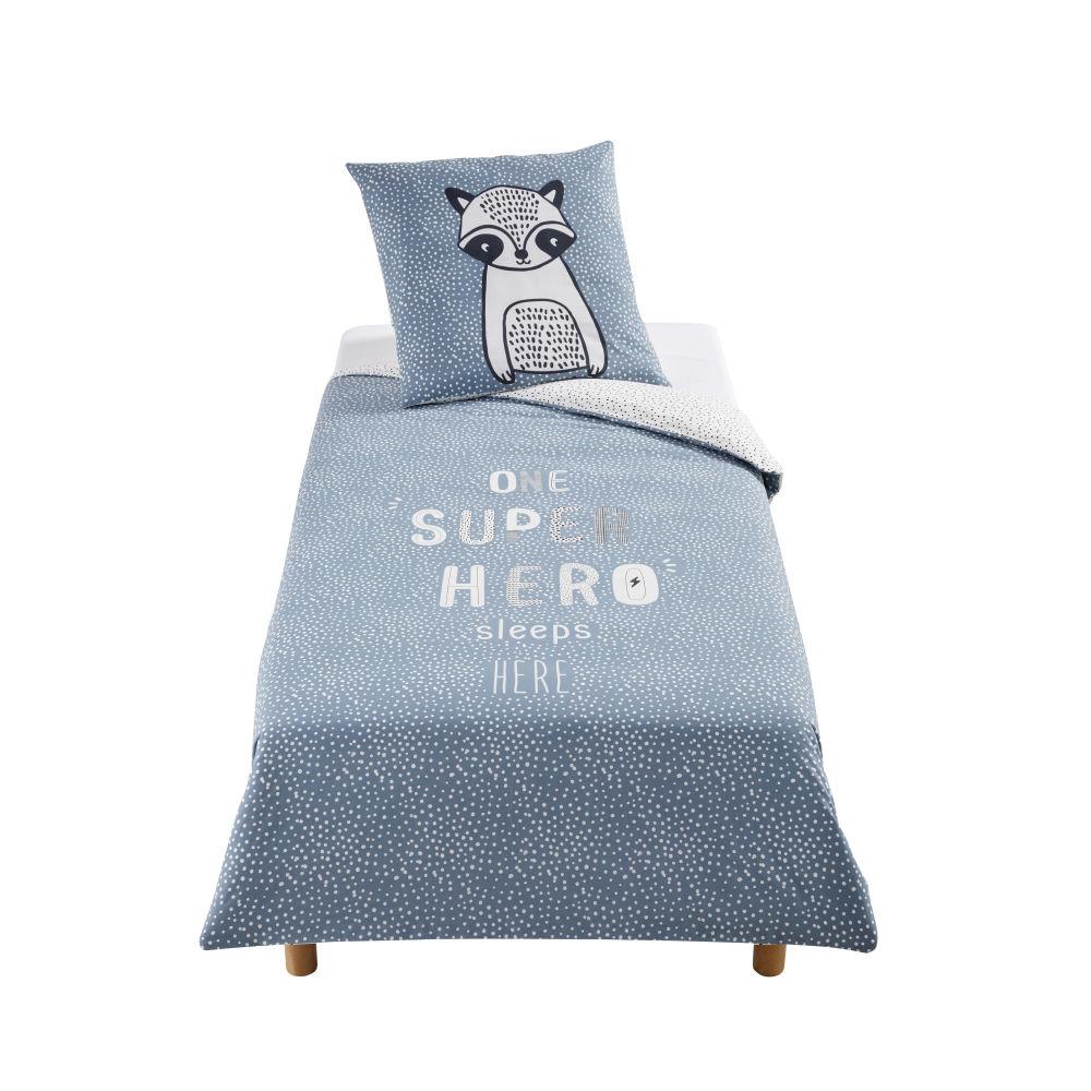 Parure de lit enfant en coton bleu, blanc gris anthracite imprimé 140x200