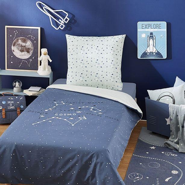 Parure de lit enfant en coton bleu marine imprimé 140x200