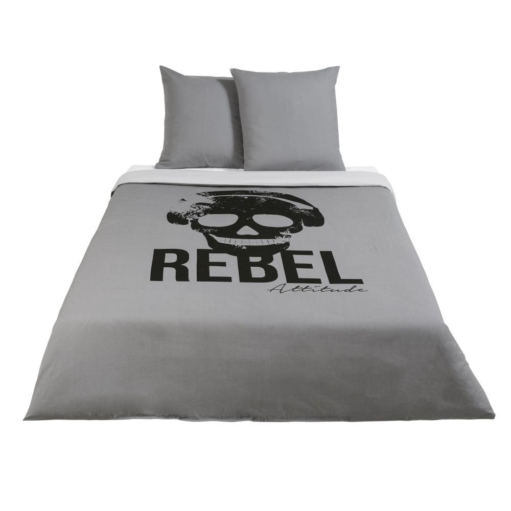 Parure de lit enfant en coton gris anthracite imprimé noir 240x220