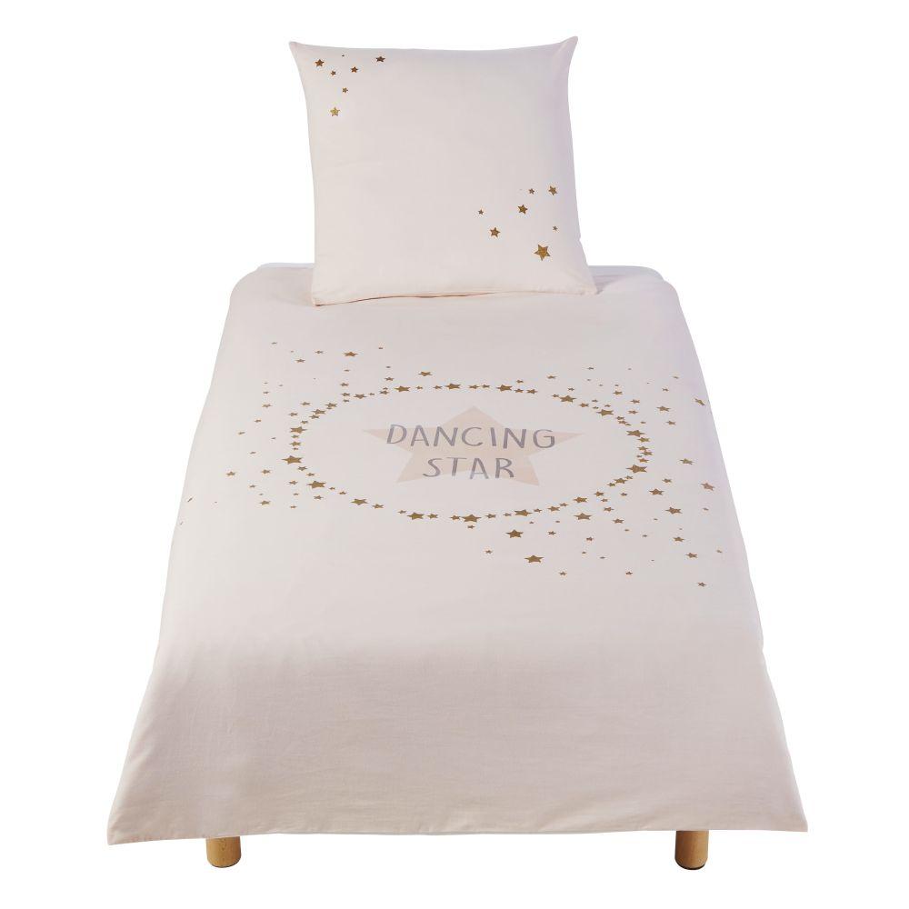 Parure de lit enfant en coton imprimé écru, rose et doré 140x200