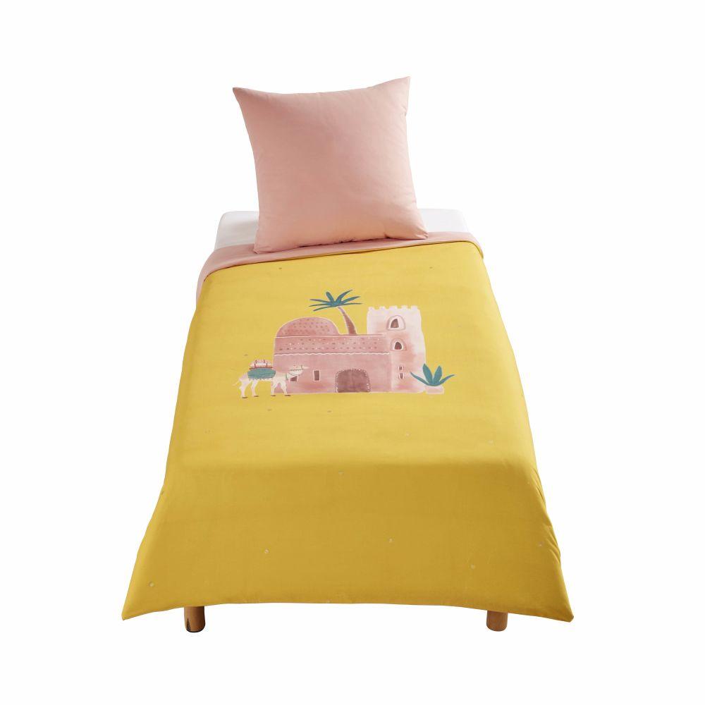 Parure de lit enfant en coton rose et jaune moutarde imprimé 140x200