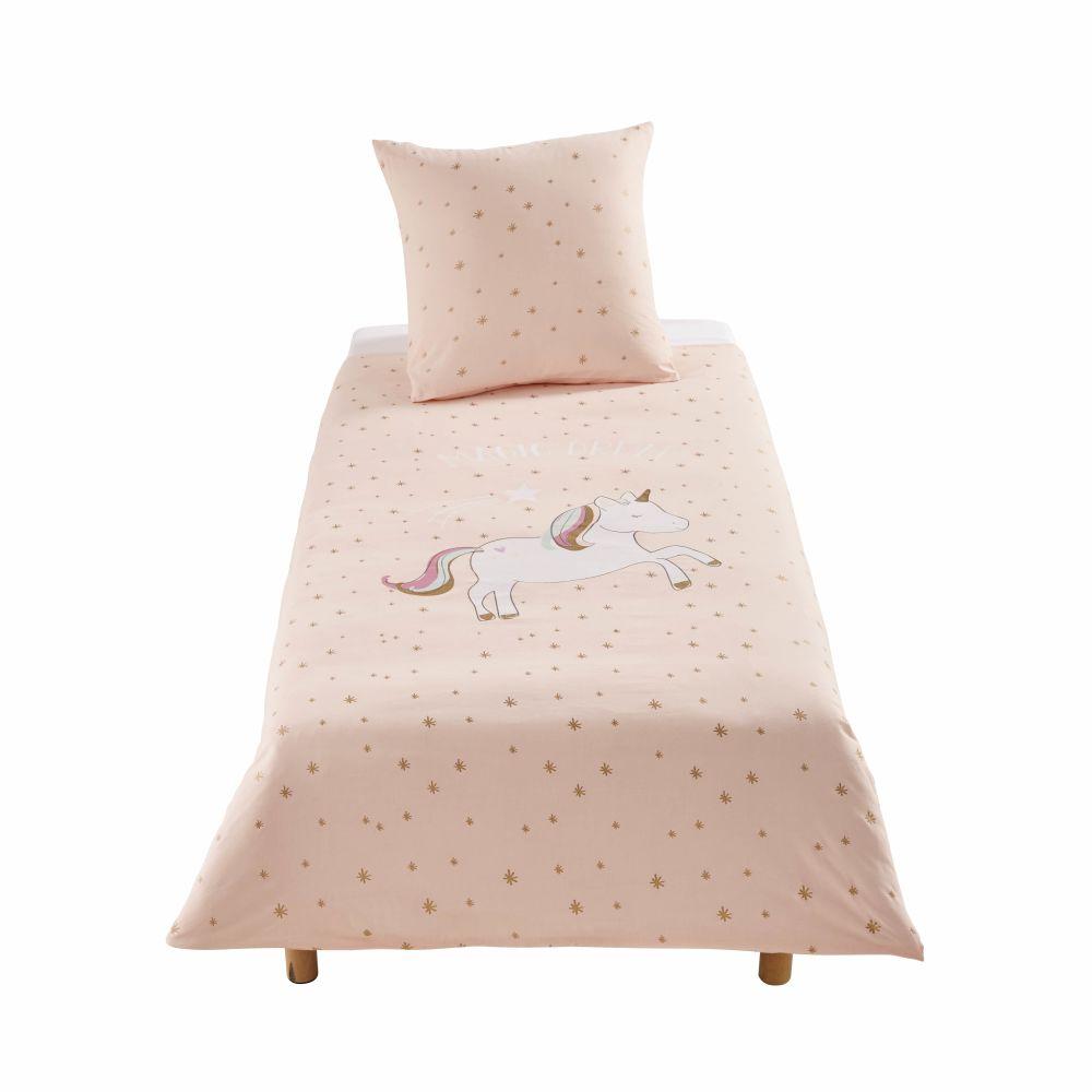 Parure de lit enfant en coton rose motifs étoiles dorées 140x200
