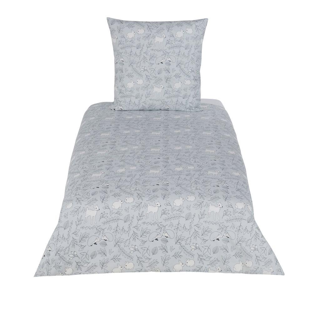 Parure de lit enfant en coton vert, gris et beige imprimé 140x200
