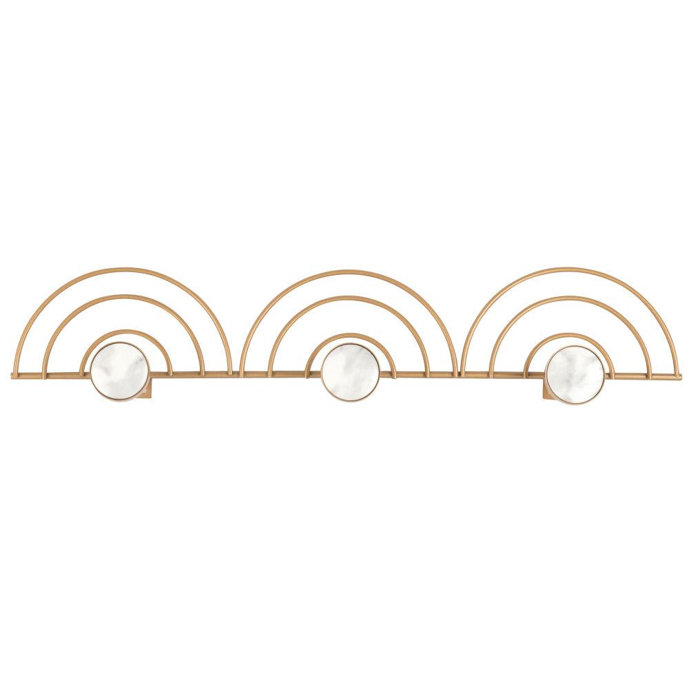 Patère 3 crochets en métal doré et résine effet marbre