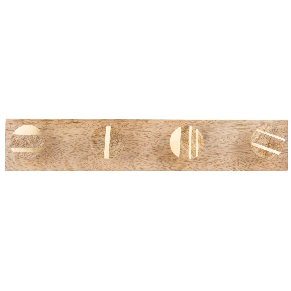 Patère 4 crochets en manguier et métal doré faite main