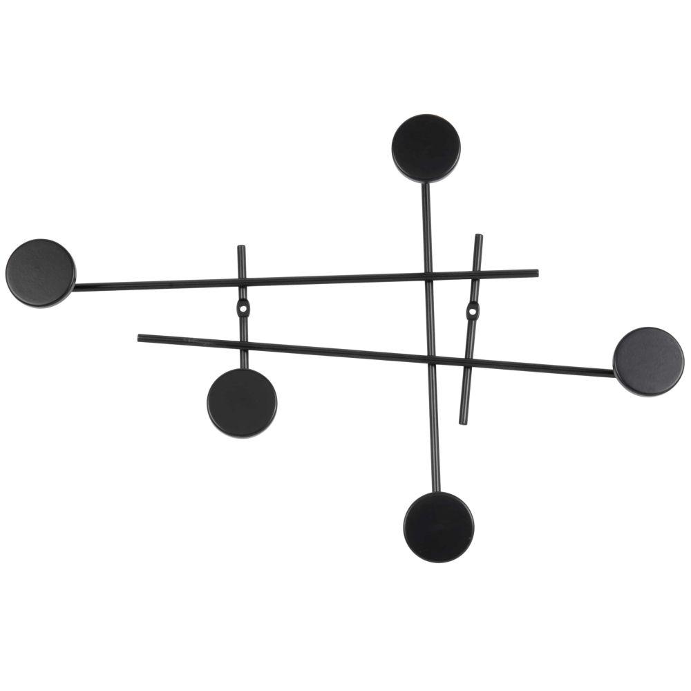 Patère 5 crochets déstructurée en métal noir