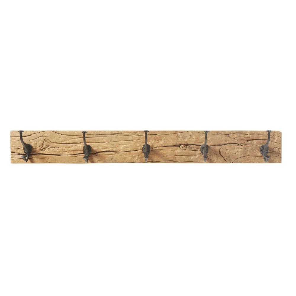 Patère 5 crochets en bois recyclé et métal noir