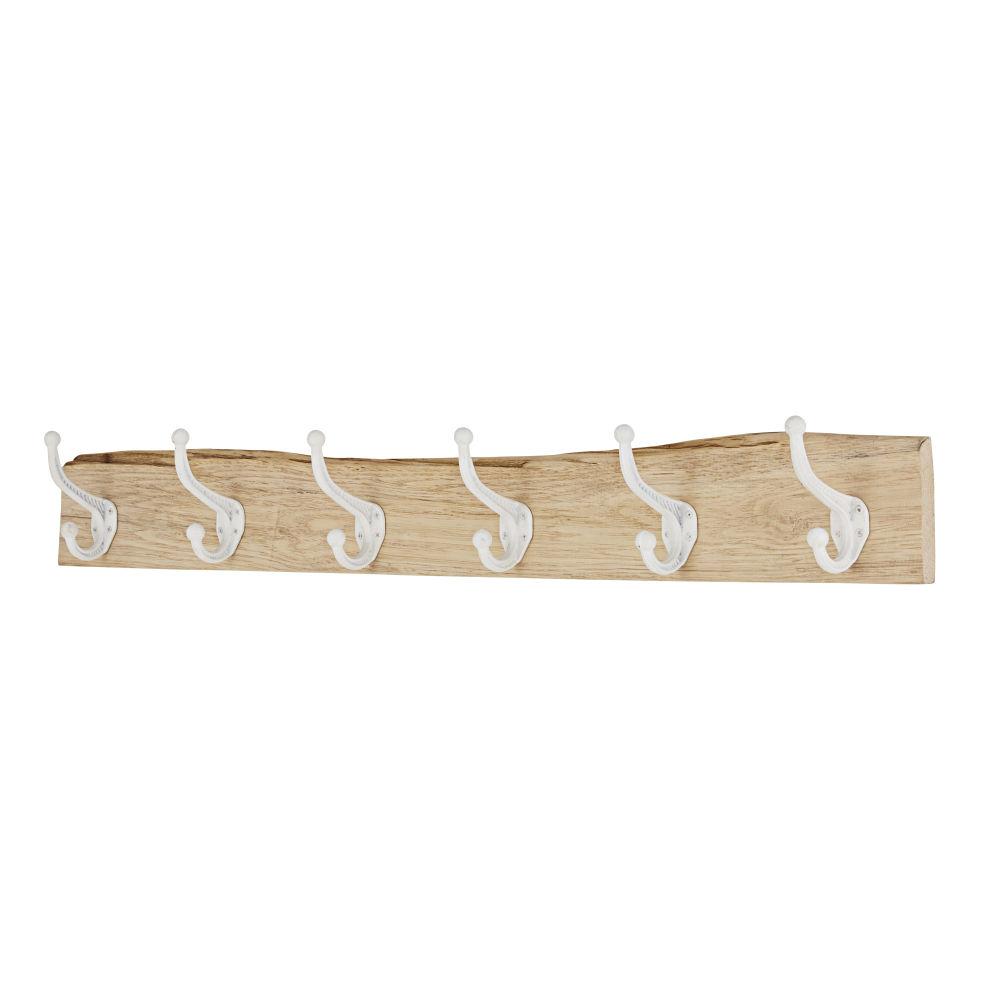 Patère 6 crochets en chêne et métal blanc