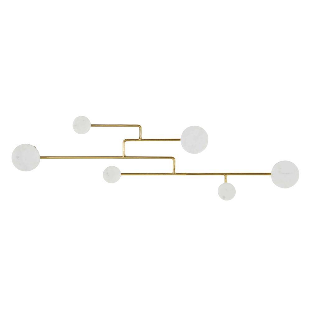 Patère 6 crochets en marbre blanc et métal doré